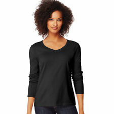 Hanes Womens V-neck Long Sleeve Tee Ebony Medium