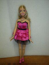 Barbie Mattel doll Pink dress, necklace, bracelet and Red shoes