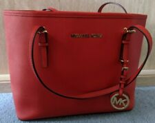 MICHAEL KORS JET SET Medium Travel Tote Bag, RED / ORANGE Saffiano Leather