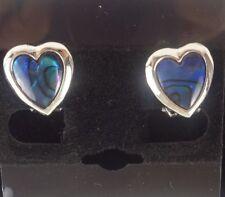 Faux Paua Shell Abalone Silver Heart Shaped Clip-on Earrings