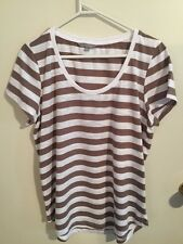 Pre-loved Ladies size 14-16 Neat Stone & White Striped Top by Suzanne Grae