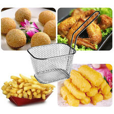 Stainless Steel Mini Chip Fryer Serving Food Presentation Kitchen Frying Basket.