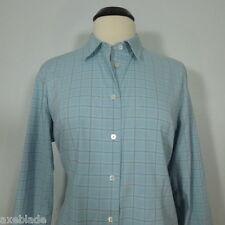 LANDS' END Women's Plaid Blue Button Front Shirt size 16