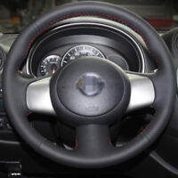 Black Leather Steering Wheel Cover for Nissan March Sunny Versa Almera 2013