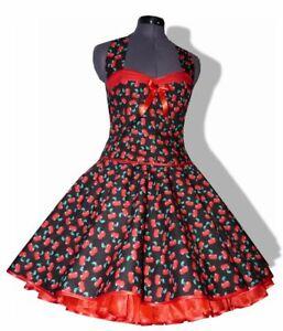 50er Petticoatkleid schwarz rote Kirschen Tanzkleid Rockabilly 34-44 oder n. Maß