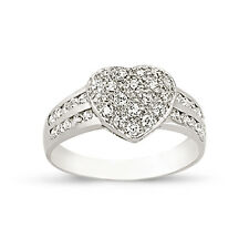 STERLING SILVER LADIES CUBIC ZIRCONIA CZ HEART BOMBAY ETERNITY BAND WEDDING RING