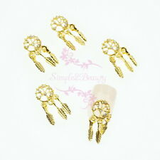 20 Bohemia Style Alloy Charms Hollow Out Design Feather Dangle Nail Art Manicure