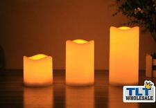 3pc Large LED Flameless Candles Light Battery Operated Safe AAA Battery