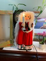 "Vintage Animated Lighted Victorian Christmas Figure  Statue 20"" Works Great RARE"