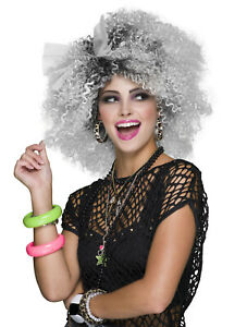Curly 80s 90s Big Hair Ladies Afro Madonna Blonde Grey Wig Fancy Dress Costume