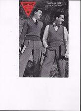 ANTIQUE/VINTAGE 20s/30s 4d BESTWAY KNITTING PATTERN MANS PULLOVER & SLIPOVER