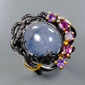 Jewelry Handmade Blue Sapphire Ring Silver 925 Sterling  Size 8.25 /R176687