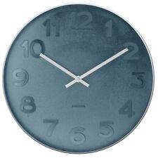 Wanduhr Mr. Blue blau silber polierter Stahl Luxus Design Uhr Quarz 37,5 cm Ø