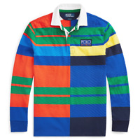 Mens Polo Ralph Lauren Hi Tech Patchwork Classic Fit Rugby Multi Szes M - L  NWT