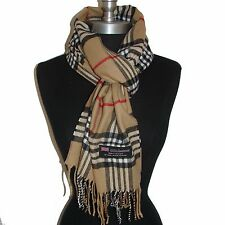 "New Fashion 100% Cashmere Scarf Camel Check Plaid Scotland Wool Wrap ""A07"""