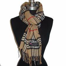 "New Fashion 100% Cashmere Scarf Camel Check Plaid Scotland Wool Wrap ""A07""58"