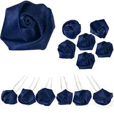6 epingles pics à cheveux chignon mariage mariée fleur rose de satin bleu nuit