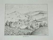 Kenzingen Bombach Baden Dorfansicht Original Litho Lederle 1879