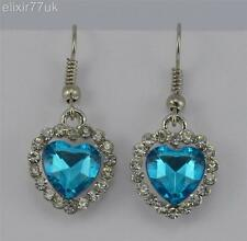 NEW PAIR OF SILVER DROP DANGLY EARRINGS BLUE CRYSTAL LOVE HEART DIAMANTE GIFT UK