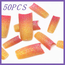 50pcs Red Orange Gradient Glitter French False Nail Tips FN0021+1 Free Glue
