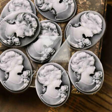 8 Vintage Resin Flatback Cameo Lady Portrait 26x20x5mm White and Gray BWRB0677