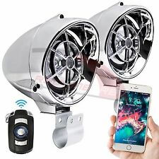 Bluetooth Chrome Motorcycle Audio Stereo Music Speakers System MP3 FM Radio USB