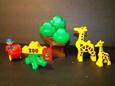 Lego Duplo Zoo Giraffes Alligator Tree Minifig Wagon & Wheat Pre owned Clean
