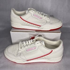 Women's Adidas Originals Continental 80 EE3831 Shoes Cream/White/Pink Size 10.5