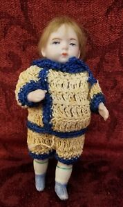 Antique German All Bisque Strung Boy Doll Mold 620 Crotched Outfit Painted Eyes