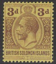 BRITISH SOLOMON IS. SG28 1923 3d PURPLE/PALE YELLOW MNH