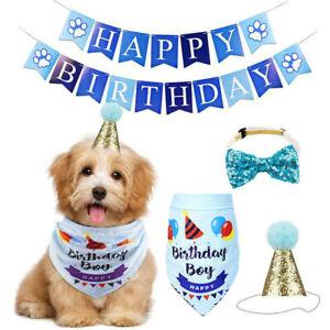 Dog Pet Happy Birthday Banner Hat Headwear Bandana Neckerchief Ties Party Decor