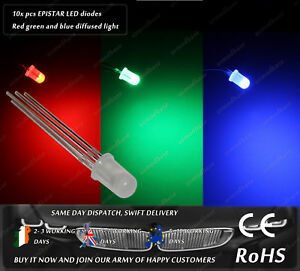 10x RGB Red Green Blue Epistar 5mm Clear LED Chip Diode Lighting Lamp DIY AC DC