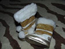 JUICY COUTURE SZ 2 GOLD METALLIC SPARKLE BOOTS BABY INFANT W POM POMS