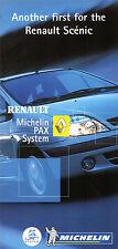 RENAULT Scenic MICHELIN PAX runflat pneu système 2002 marché britannique foldout brochure