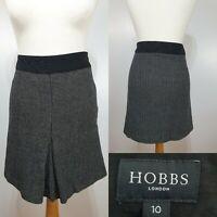 Hobbs Black White Checked Short Wool Skirt Size 10 Pleated Winter Smart