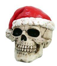 "Halloween Decor Small 5""L Evil Skull with Bad Santa Hat Chrismas Figurine Statue"