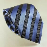 Canali Blue Black Striped Luxury Designer Mens Woven Silk Tie Made In Italy