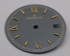 BERTOLUCCI Watch Dial GRAY 22mm w/ Date Window & Gold Roman Numeral Markers