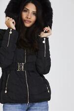 New Women Ladies Black Autumn Winter Fur Hoodies Belted Coat Jacket Puffer Parka
