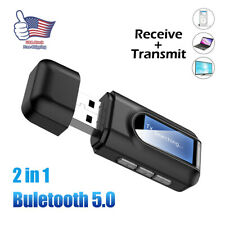Bluetooth5.0 Transmitter Receiver 2 IN 1 Wireless Audio 3.5mm USB Aux Adapter US