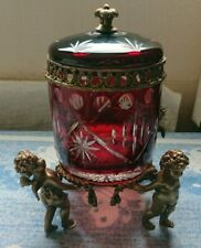 More details for antique vintage retro cherub brass ruby red crystal cut hand made glass vase urn