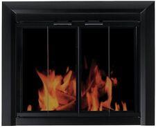 Fireplace Doors Screen Black Large Bi-Fold Style Glass Tinted Fine Mesh Panel