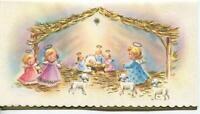 VINTAGE CHRISTMAS PINK BLUE BLONDE ANGELS LAMBS NATIVITY CHRIST GREETING CARD