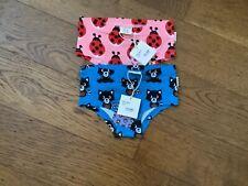 Maxomorra Girls Hipster Briefs x 2- Ladybug and Raccoon - 98/104cm (3-4 years)