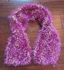 "Women's Handmade Boho Hippy Crochet Pink Yellow Knit Scarf Wrap 39"" Long"