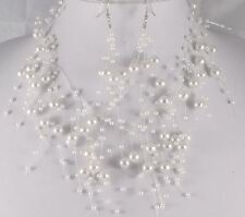 FLOATING WHITE  FAUX PEARL NECKLACE  AND  EARRINGS  SET