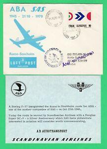 SAS ABA Rome Stockholm 1st flight cover 1945 70 DC-9 Boeing F17 aviation history