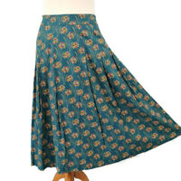 Seasalt Size 10 Teal Green Blue Multicoloured Floral Midi Cotton Lined Skirt