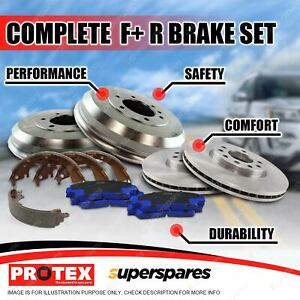 Front + Rear Disc Brake Rotors Pads Drums Shoes for Ford Courier PC 4WD 85-96