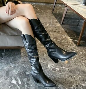 EUR50 Womens Block Heels Knee High Riding Boots Pointed Toe Western Boots Shoes